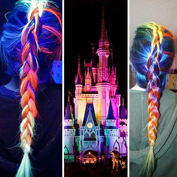 cabelo rainbow hair que brilha no escuro