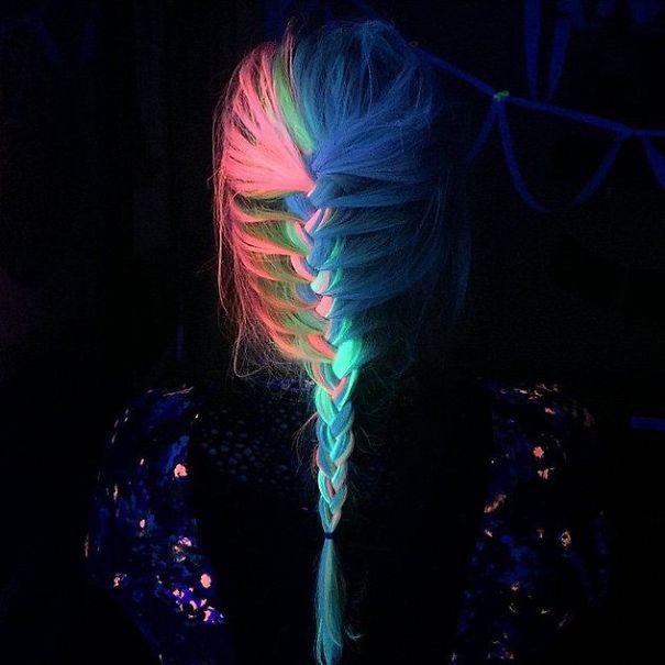 rainbow hair que brilha no escuro e na luz negra