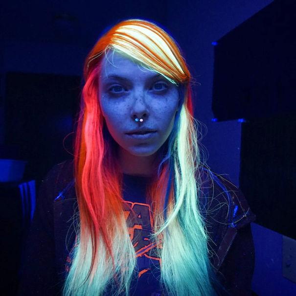 rainbow hair que brilha no escuro