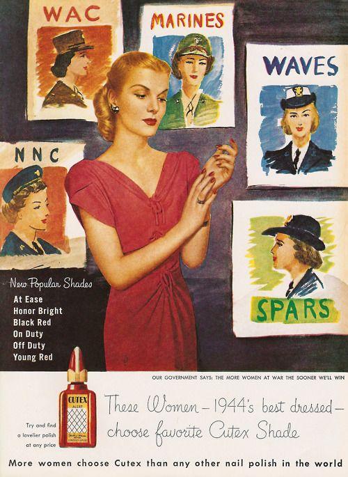 A Cutex propaganda do vintage durante a Segunda Guerra Mundial
