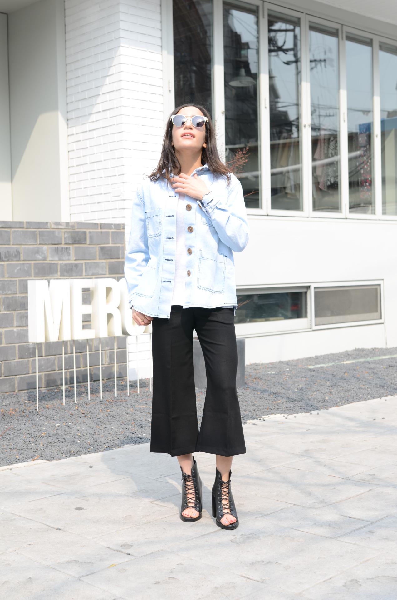 Cropped flare moda