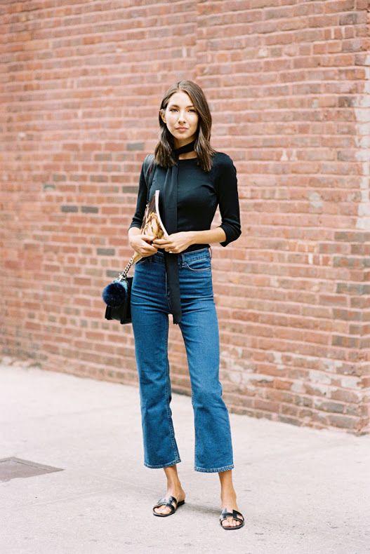 Cropped flare tendência calça jeans