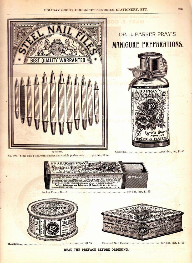 Uma propaganda para produtos de manicure de Cobb em um catálogo de 1893 Marshall Fields