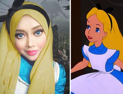 com hijab mulher se tranforma em princesas da disney alice