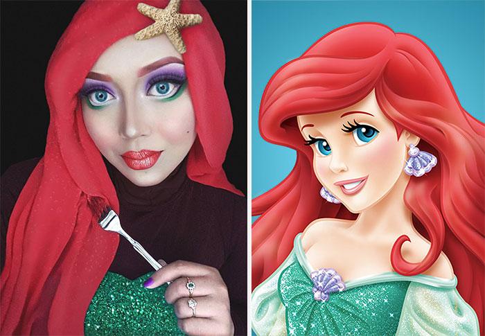 com hijab mulher se tranforma em princesas da disney ariel