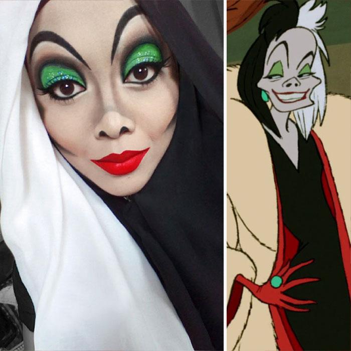 com hijab mulher se tranforma em princesas da disney cruella