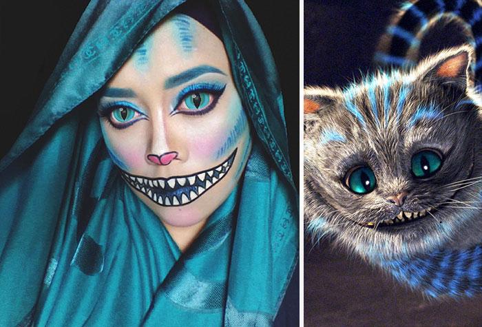 com hijab mulher se tranforma em princesas da disney gato