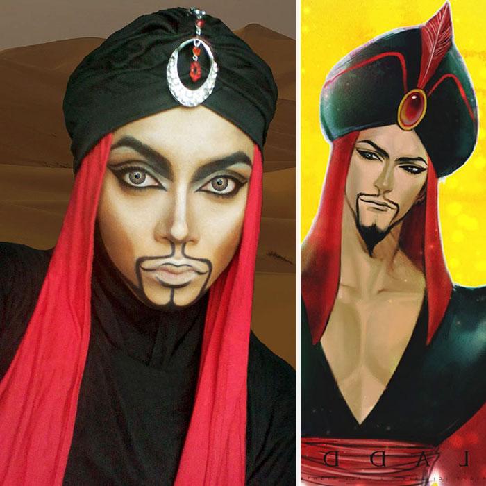 com hijab mulher se tranforma em princesas da disney jafar