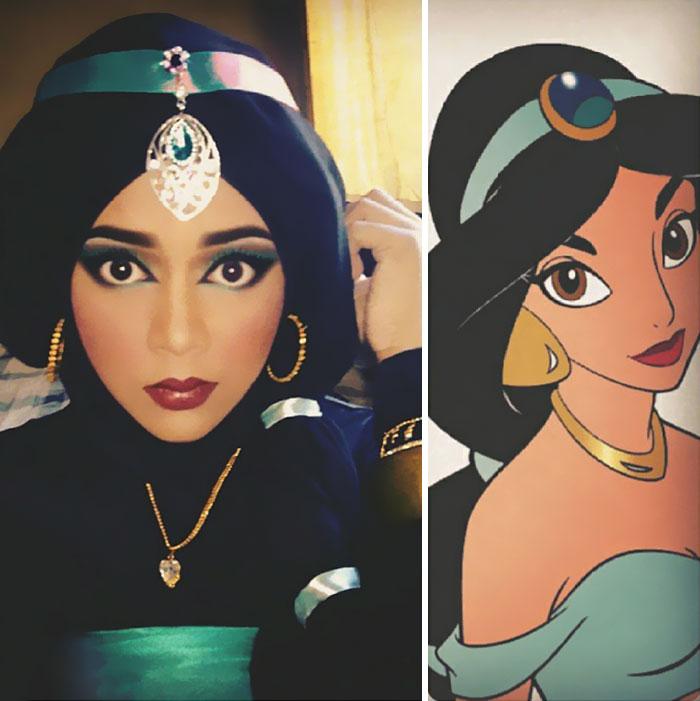 com hijab mulher se tranforma em princesas da disney jasmine