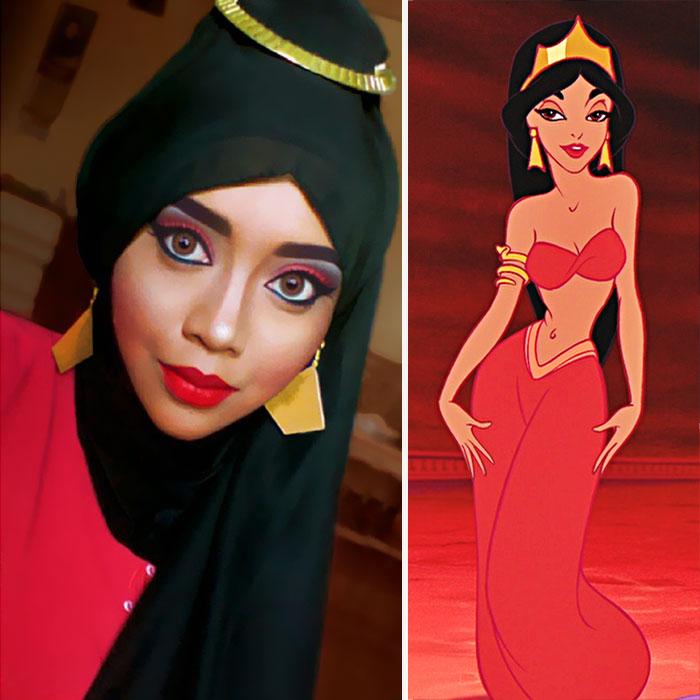 com hijab mulher se tranforma em princesas da disney princesa jasmine