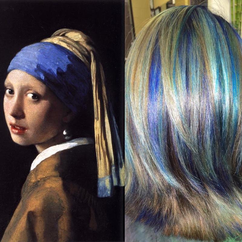 mulher-com-brinco-de-pérola cabelos coloridos