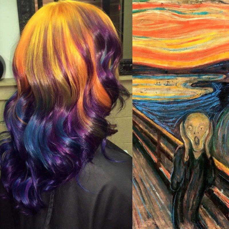munch-o-grito cabelos coloridos