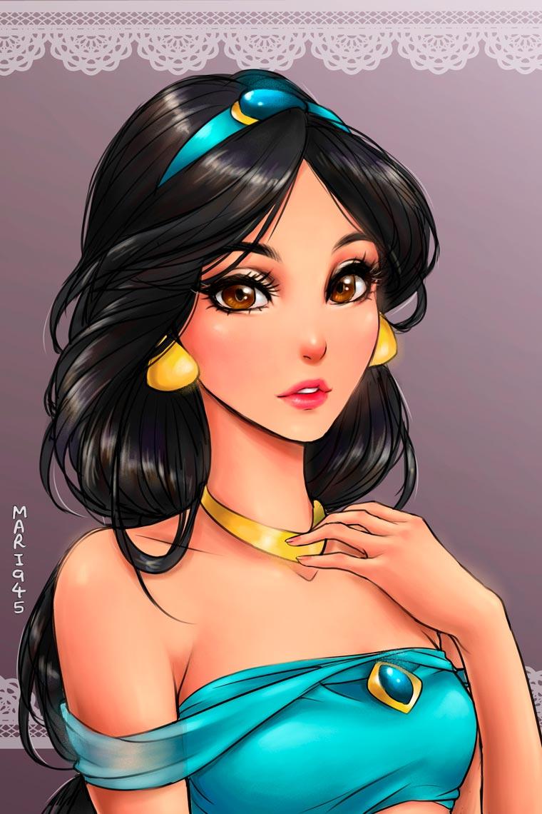 princesas da disney versão mangá jasmin