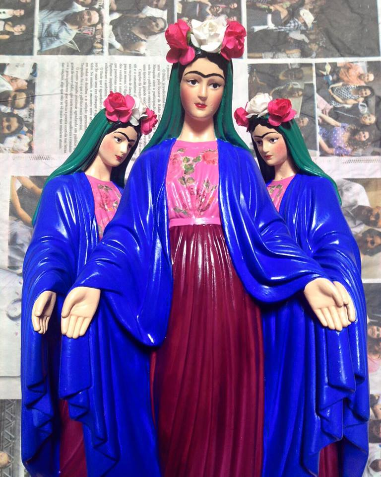 santa blasfêmia santos decorativos como personagens frida