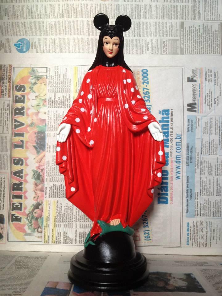 santa blasfêmia santos decorativos como personagens minnie