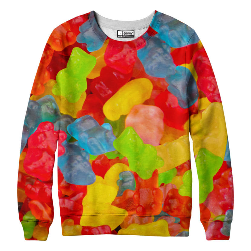 suéter com estampa de bala de goma