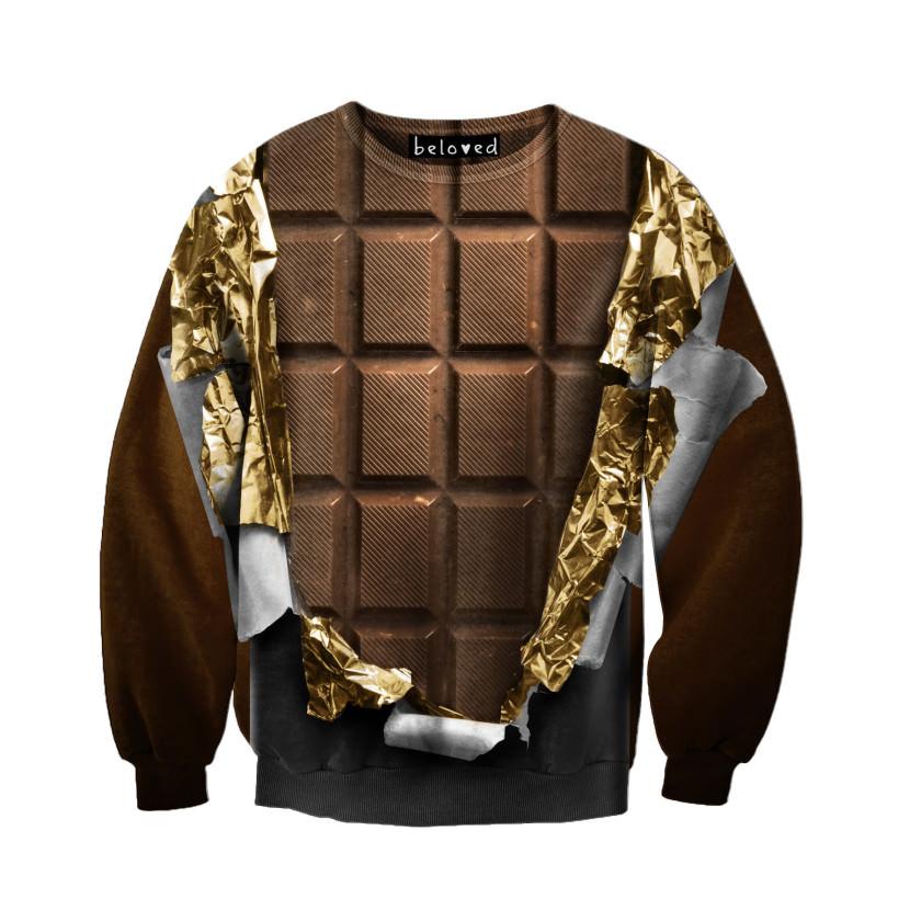 suéter com estampa de chocolate
