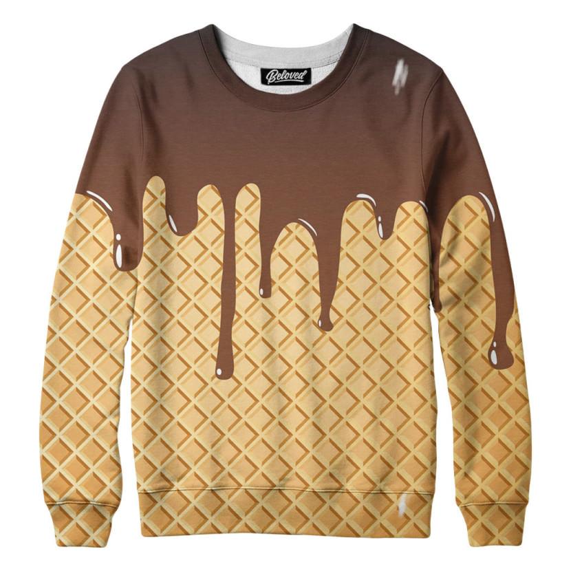 suéter com estampa de sorvete e chocolate