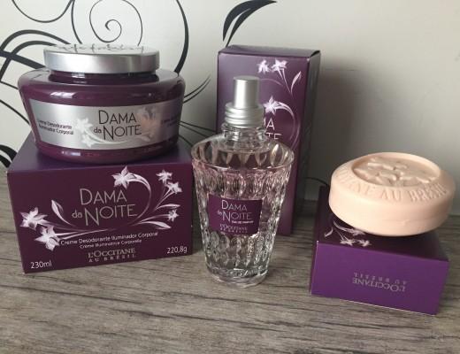 perfume, hidratante iluminador e sabonete dama da noite loccitane