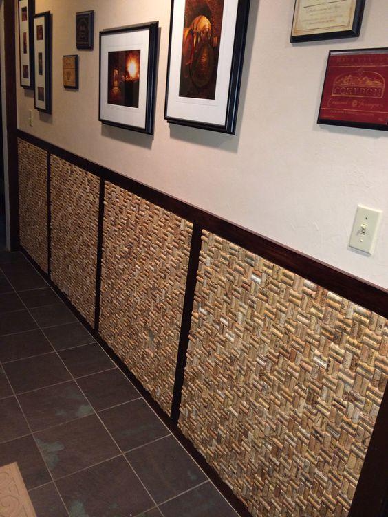rolha de vinho na decoração decoração na parede