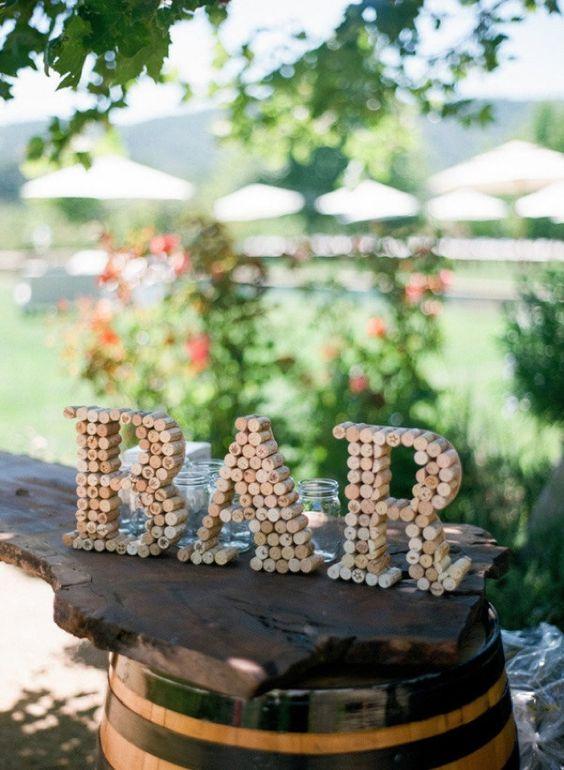 rolha de vinho na decoração  letras