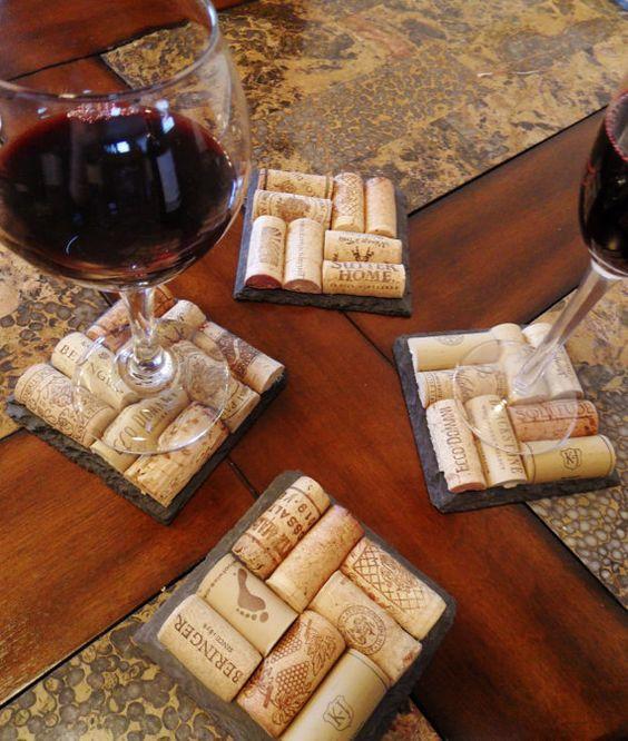rolha de vinho na decoração porta copos 1