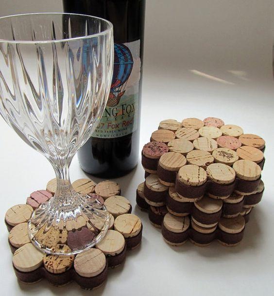 rolha de vinho na decoração porta copos