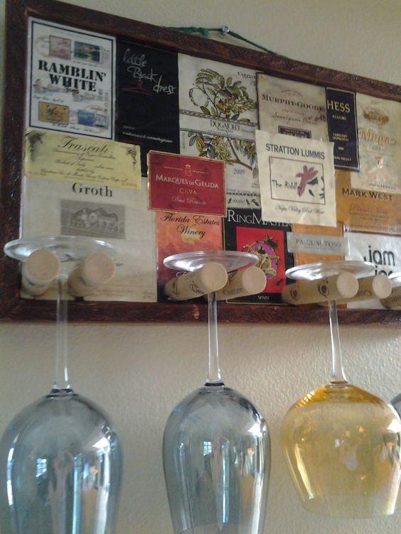rolha de vinho na decoração porta taças