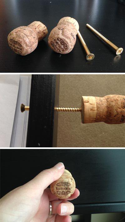 rolha de vinho na decoração puxador de gaveta