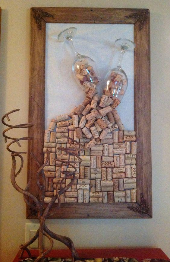 rolha de vinho na decoração quadros