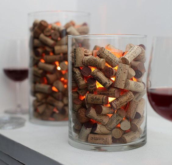 rolha de vinho na decoração  velas