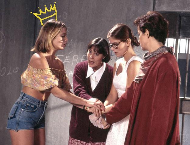 tendência de moda anos 90 look da Babalu da novela Quatro por quatro