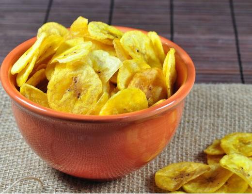 como fazer receita funcional chips de banana da terra