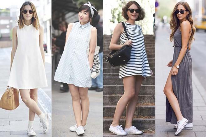 como-usar-tenis-branco com vestido