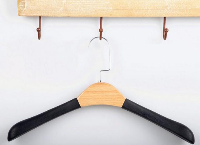 Luxo-PU-de-couro-de-madeira-cabide-para-roupas-de-pele-loja-de-roupas-4-peças