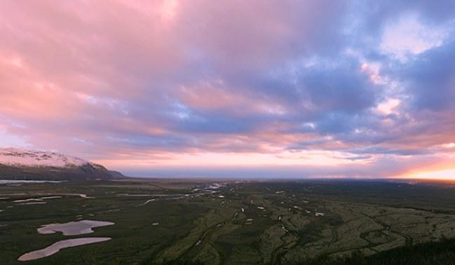 por do sol em Parque Nacional Skaftafell, Islândia