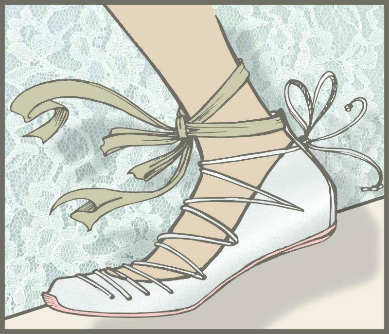 1) Sapatilha com amarrações (Balerina)