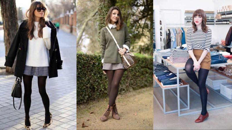 Saia com meia-calça como usar no inverno