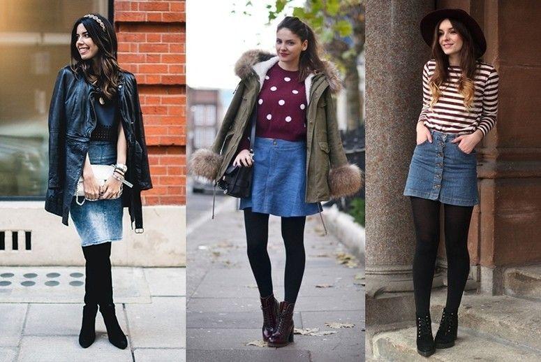 Saia jeans no inverno