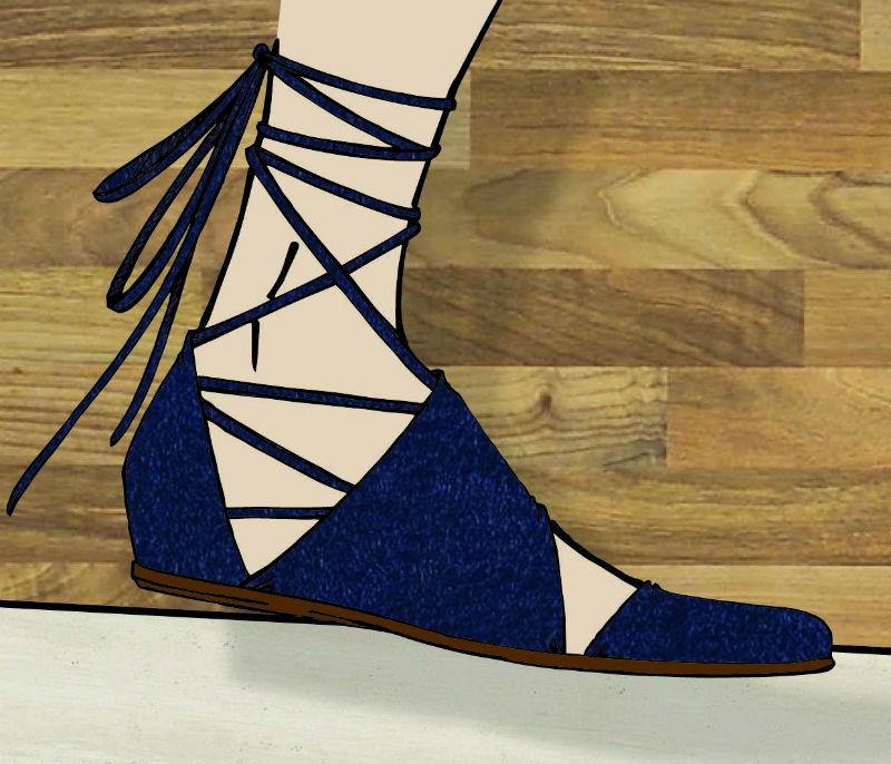 Sandálias com amarração