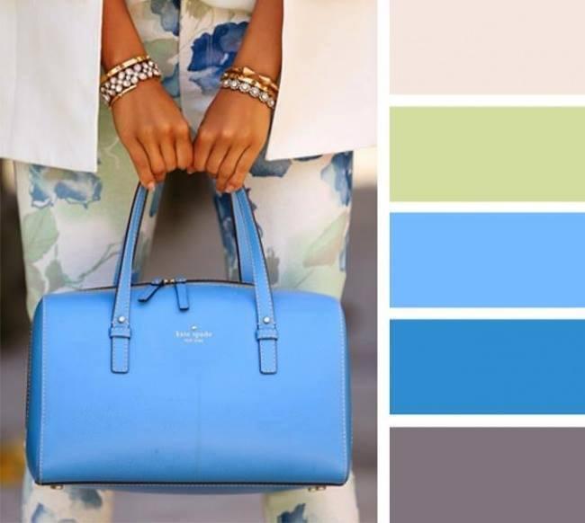 como combinar cores com o azul