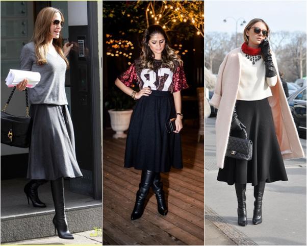 como usar saia midi inverno
