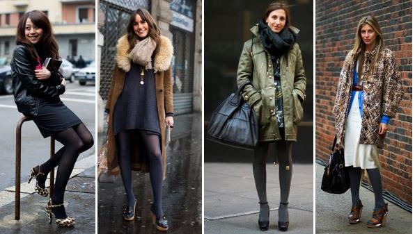 como usar saia no inverno meia calça com sandália