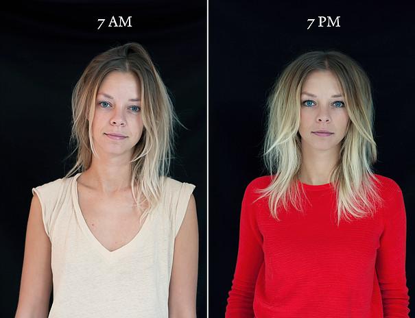 projeto fotográfico mostra as pessoas as 7 horas da manhã e 7 horas da noite 11