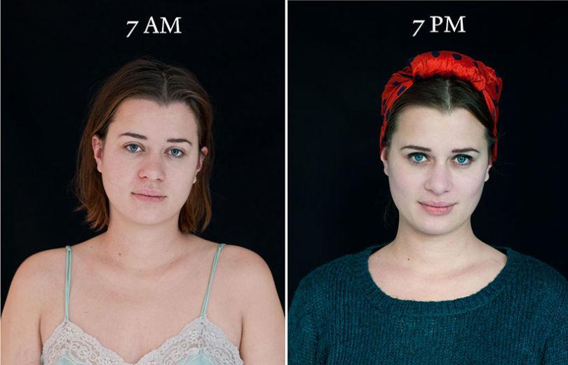 projeto fotográfico mostra as pessoas as 7 horas da manhã e 7 horas da noite 4