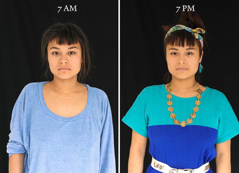 projeto fotográfico mostra as pessoas as 7 horas da manhã e 7 horas da noite 5