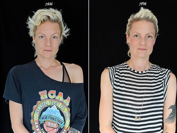 projeto fotográfico mostra as pessoas as 7 horas da manhã e 7 horas da noite 8