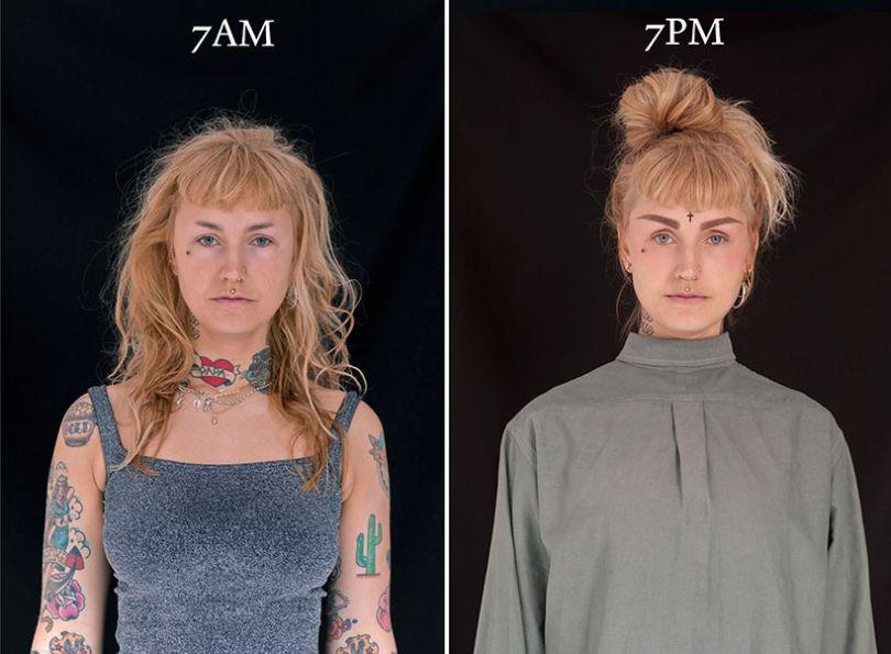 projeto fotográfico mostra as pessoas as 7 horas da manhã e 7 horas da noite