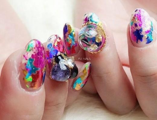 snow globe nail tendência unhas