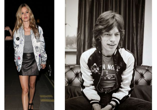 Georgia May Jagger e Mick Jagger jaqueta bomber